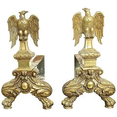Set of Two Fireplace Andirons Representing an Eagle in Copper