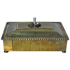 WMF Arts and Crafts Hammered Brass Box, Germany, circa 1910