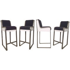 Four Heavy Bar Stools in Brush Finish Steel