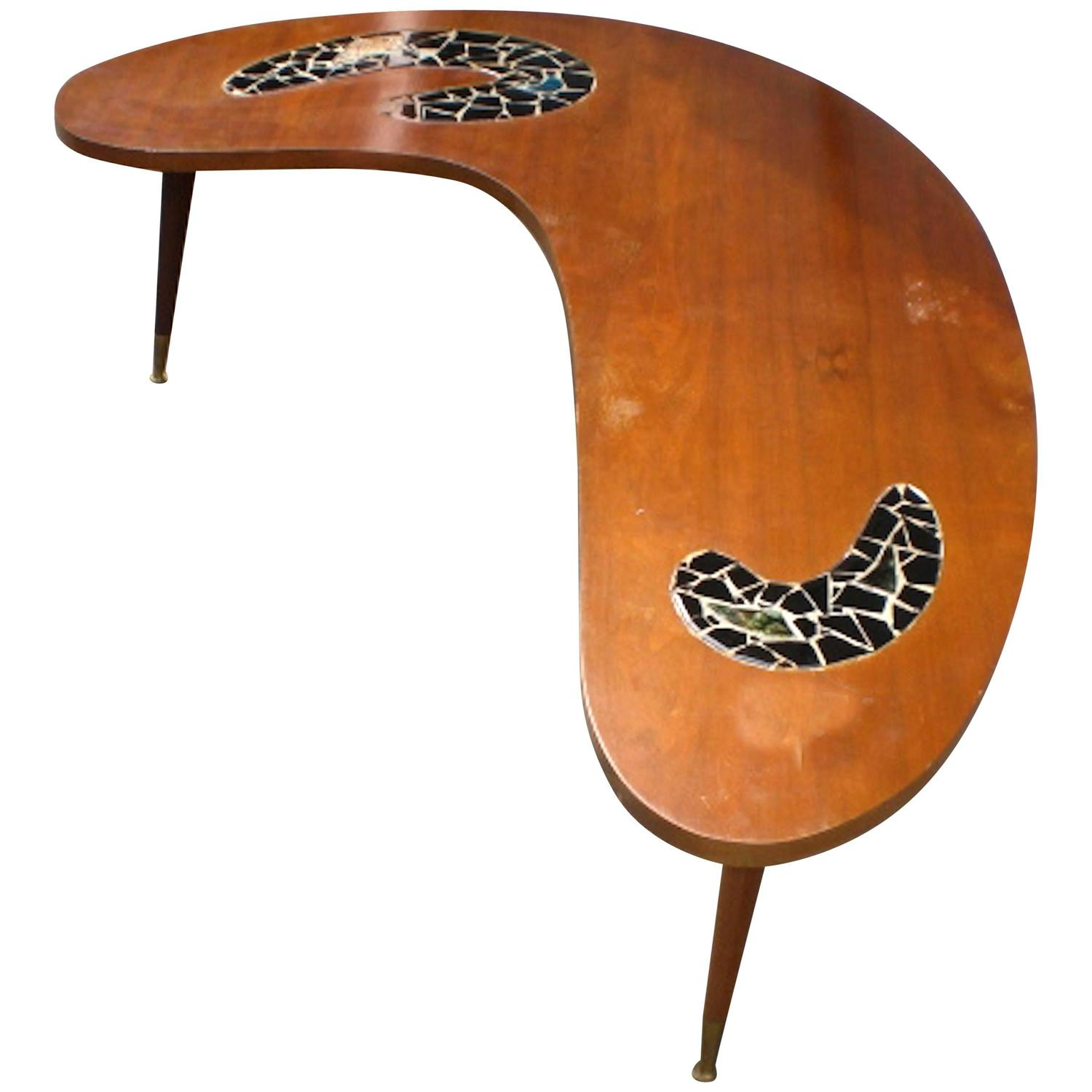 Kidney Coffee Table With Tile Design For Sale At 1stdibs