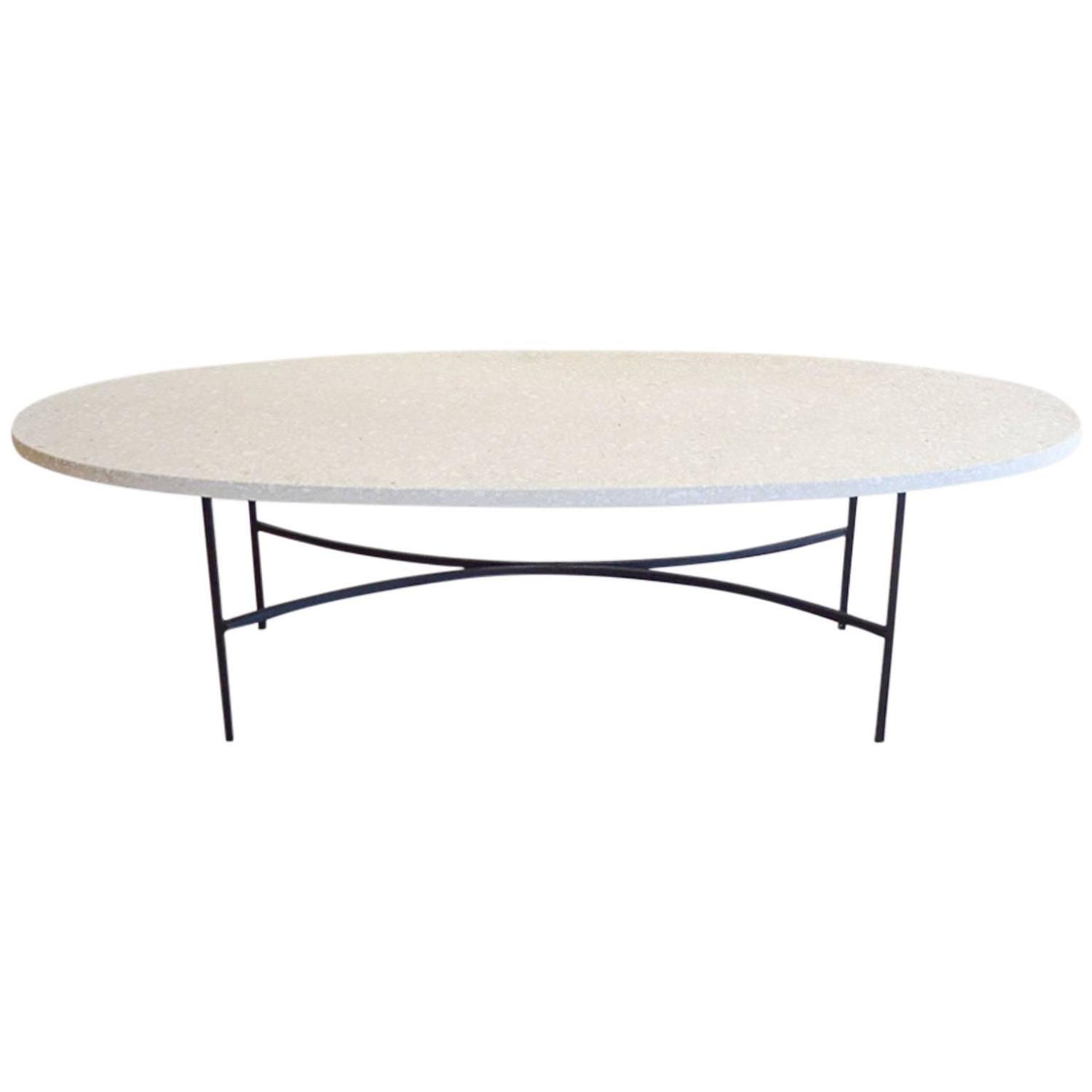 Terrazzo And Iron Oval Coffee Table At 1stdibs