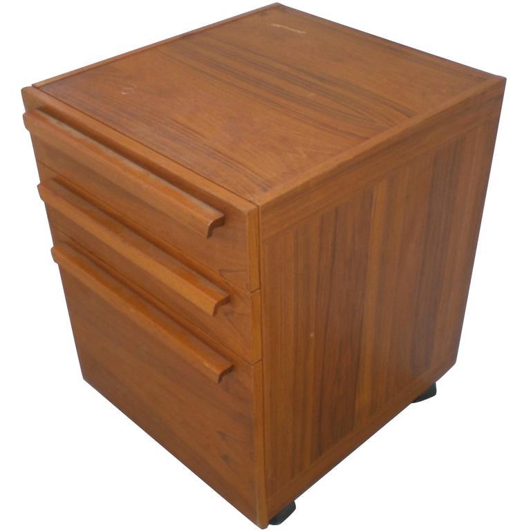 Teak File Cabinet on Wheels