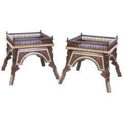 Moorish Bone Inlaid Tables with Floral Carvings and Porcelain