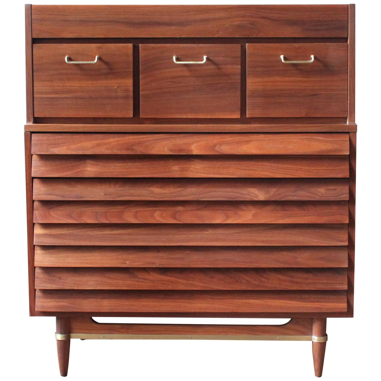 Mid century american walnut dresser by american of for Mid century american furniture