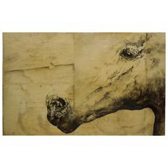 "Large Ashley Collins Painting of a Horse ""Danny H"""