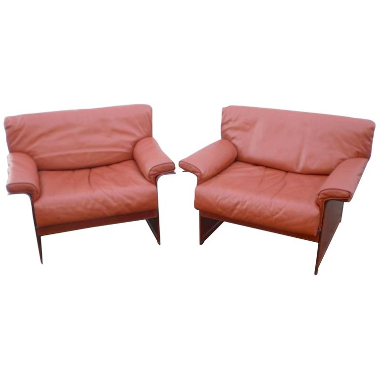 Leather Mid-Century Modern Club Chairs For Sale