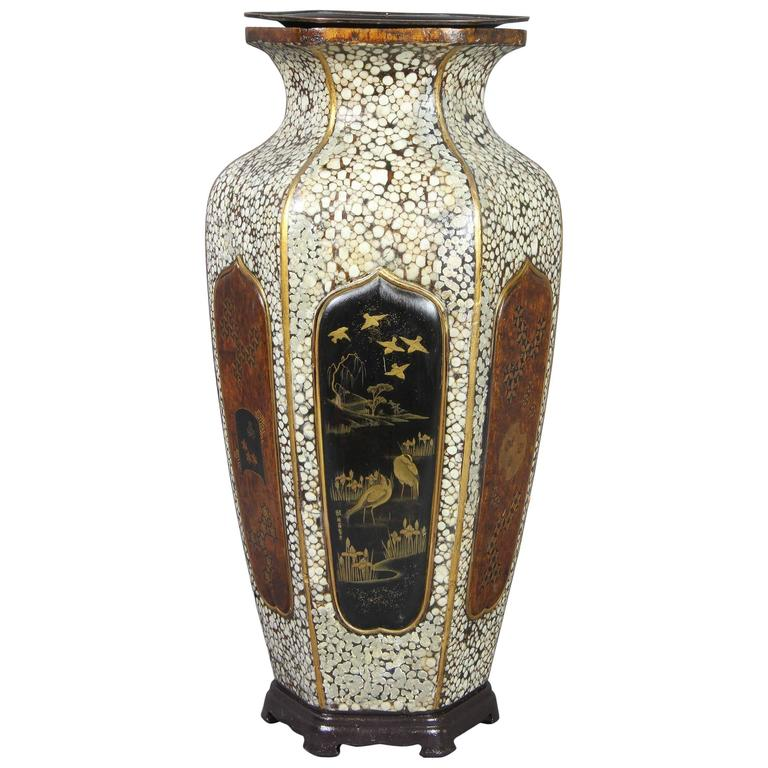 Japanese Shagreen, Lacquer and Inlaid Wood Vase