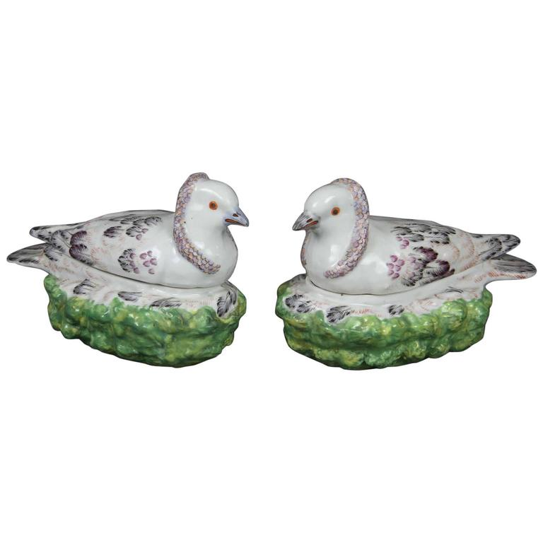 Pair of French Porcelain Dove on Nest Boxes