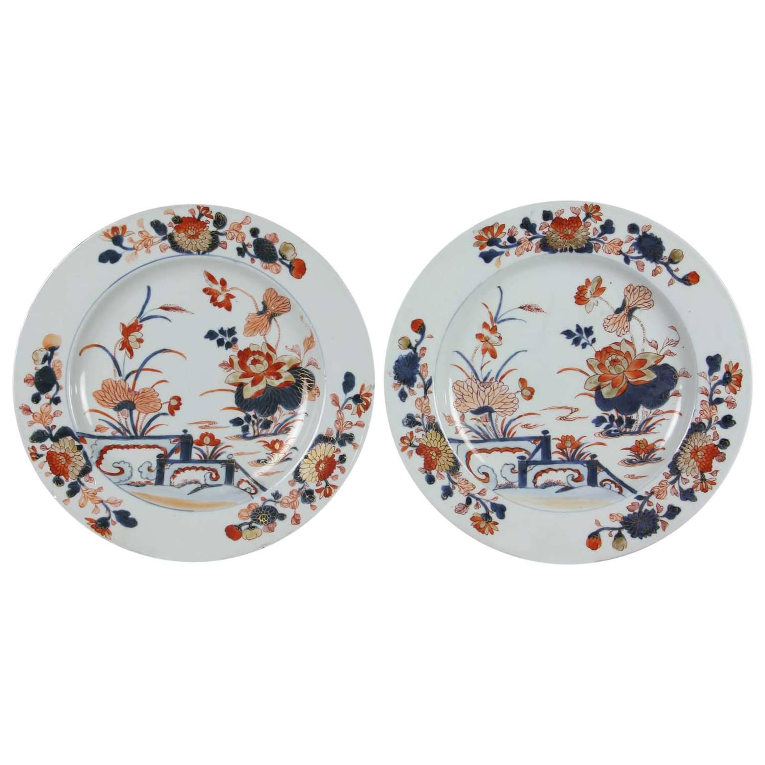 Pair of Chinese Export Imari Pattern Plates