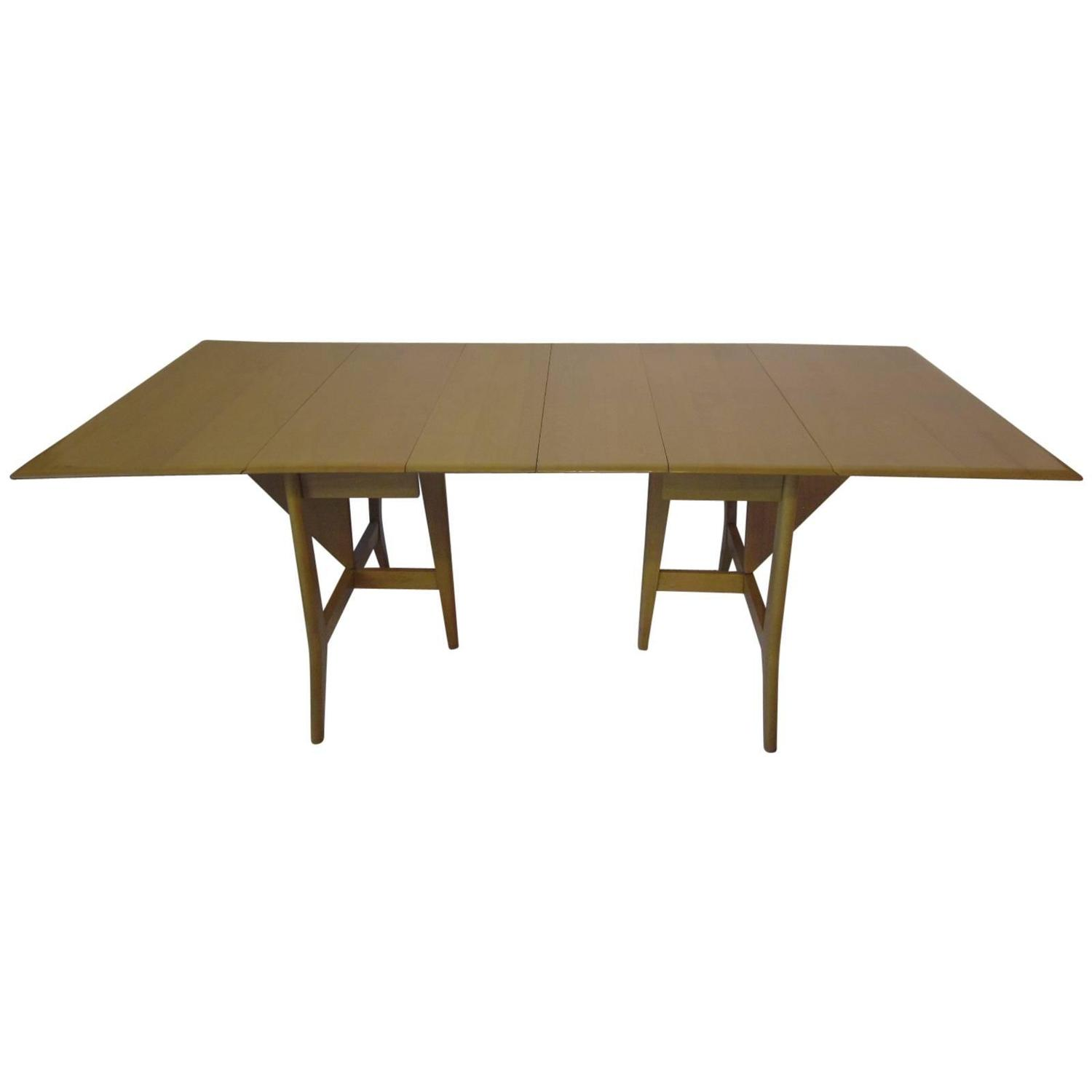 Heywood mid century harmonic drop leaf extension dining for Dining room table replacement leaf