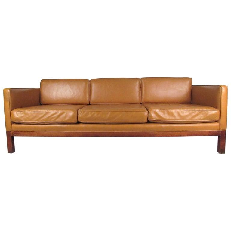 Scandinavian Modern Leather Sofa after Børge Mogensen For Sale