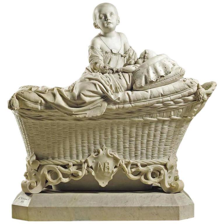 Antonio Tantardini Marble Sculpture Children on Wicker Crib