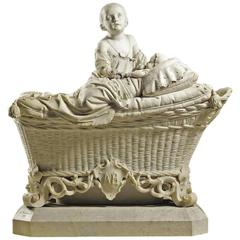 Life Size Italian 19th Century Marble Sculpture Children on Crib, A. Tantardini