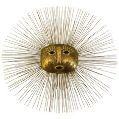 1960s Brass Hammered Sun by Talleres Emaus Mexican Modern Sun Wall Hanging