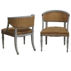 Pair of Swedish Gustavian Style Armchairs with Giltwood and Brass Hardware