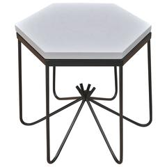 Royère Style Hirondelle Hexagonal White Marble Iron Rod Side Table