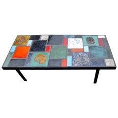 Coffee Table with Africanist Decor, France, 1950