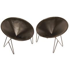 1950s California Iron Fortune Cookie Chairs