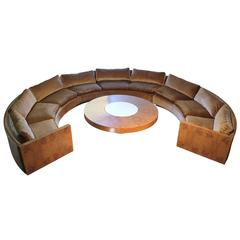 Vintage Milo Baughman Burled Curve Circle Sofa with Coffee Table