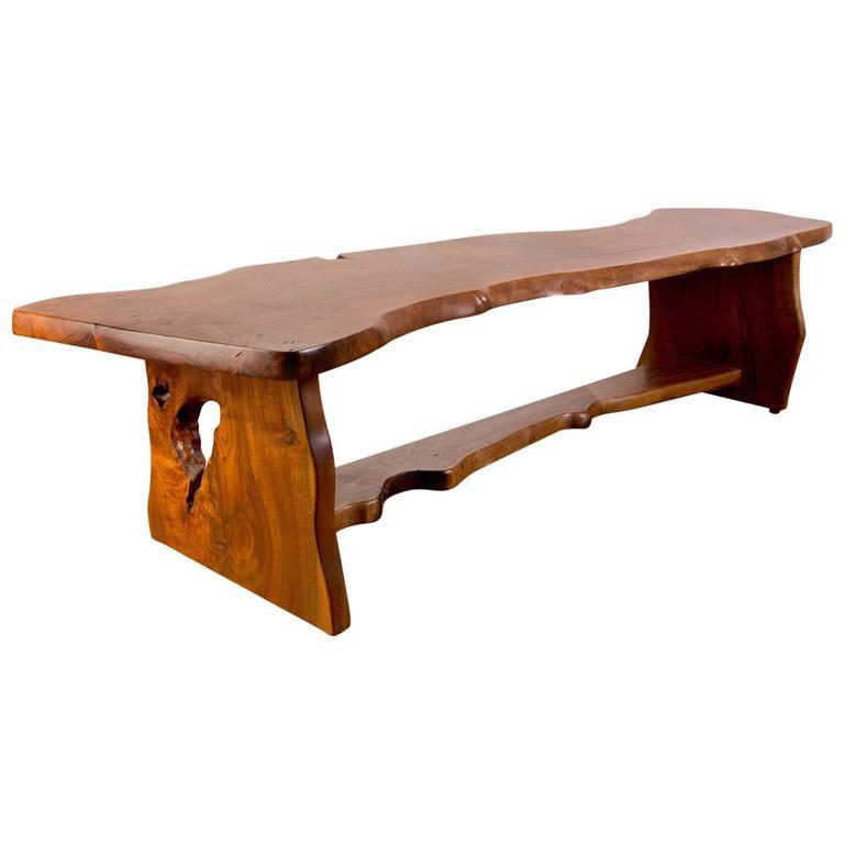 Handcrafted Redwood Slab Bench For Sale At 1stdibs