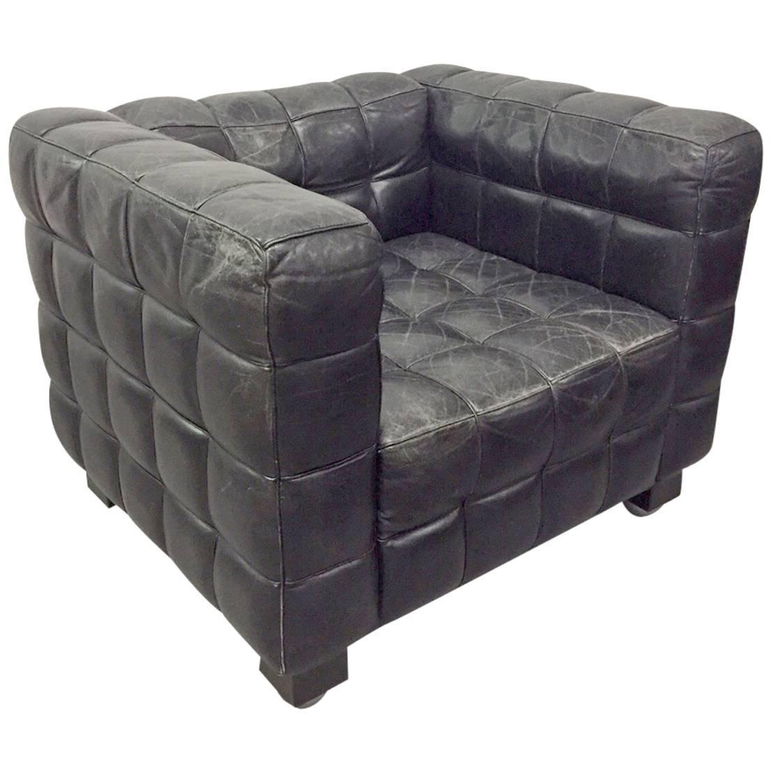 Tufted Leather Wittmann Kubus Lounge Chair by Josef Hoffmann at 1stdibs