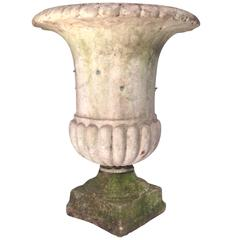 19th Century Carved Marble Campana Urn
