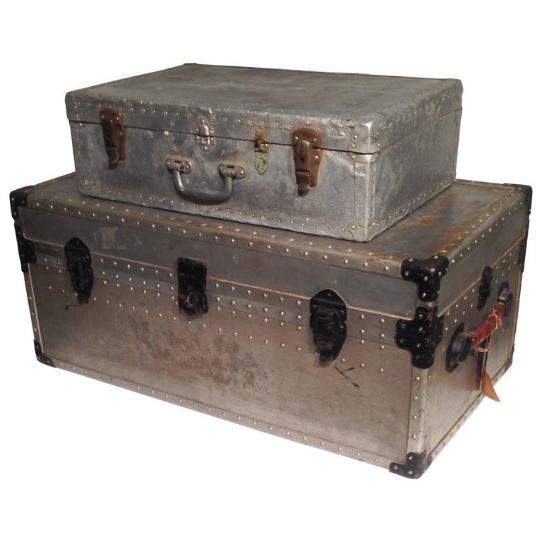 Early 20th Century Aluminum Travel Set: Trunk and Carrying Case