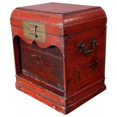 18th Century Qing Dynasty Chinese Official's Red Lacquer Travelling Seal Box