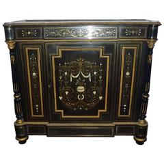 Antique French Cabinet Napoleon III Marquetry Boulle, 19th Century