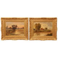 "Pair of Oil Paintings ""East Anglian Landscapes"" by Christopher M. Maskell"
