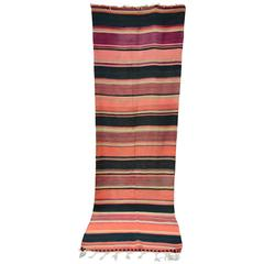 Colorful Vintage Striped Kilim Runner