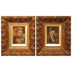 Pair of Oil Paintings, Old German Characters by F. Falke Signed
