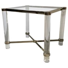 Lucite Side or End Table with Brass and Chrome Details, Manner of Karl Springer