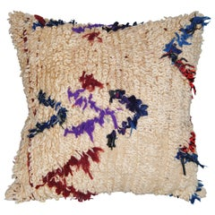 Custom Pillow Cut from a Vintage Moroccan Beni Ourain Hand Loomed Wool Rug