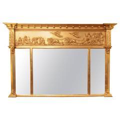Good Regency Period Triple Plate Overmantel Mirror, circa 1825
