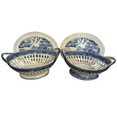 18th Century Staffordshire Pearlware Willow and Bird Baskets on Stands
