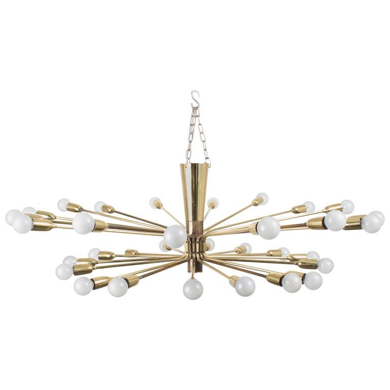 Rare & Large 32 Arm Modernist Brass Chandelier by Kalmar Austria