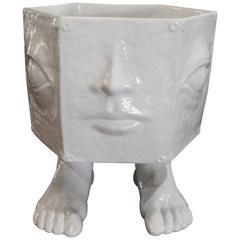 Italian Taste Setter Sigma Face Pottery Head Feet Ceramic Foot Vase Planter Pot