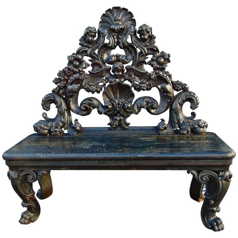 Period Italian Baroque Ebonized Bench