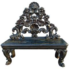 Period Italian Baroque Ebonized Bench