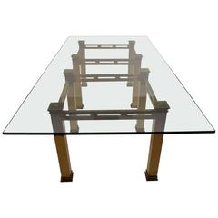Massive Cast Brass and Plate Glass Dinning Table