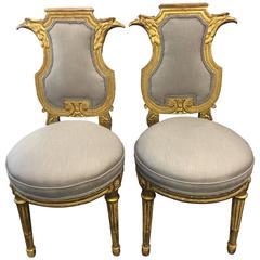Pair of Louis XVI Giltwood Lyre Chairs