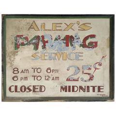 "Large Antique Metal Sign, ""Alex's Parking Service"" Hand-Painted"