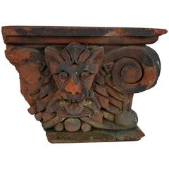 19th Century Terracotta Architectural Corbel/Element Demon Spirt, Gargoyle