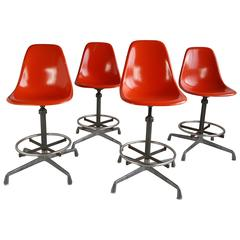 Set of Four Charles and Ray Eames Drafting Stools, Herman Miller