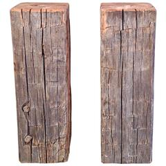Pair of Antique Hand-Hewn Oak Timber Pedestals