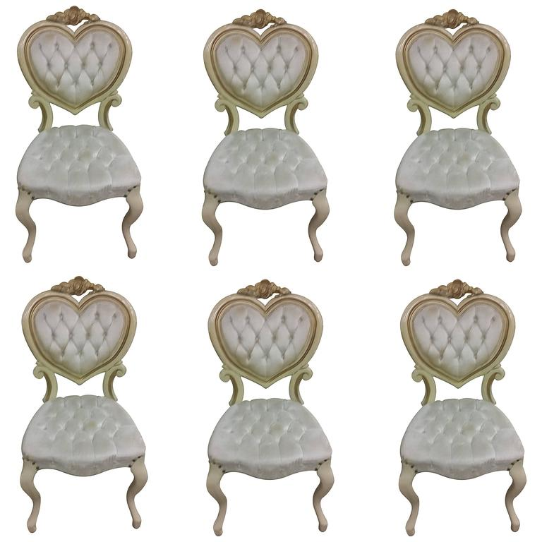 Six Tufted Hollywood Regency Heart Dining Chairs By Kimball For Sale