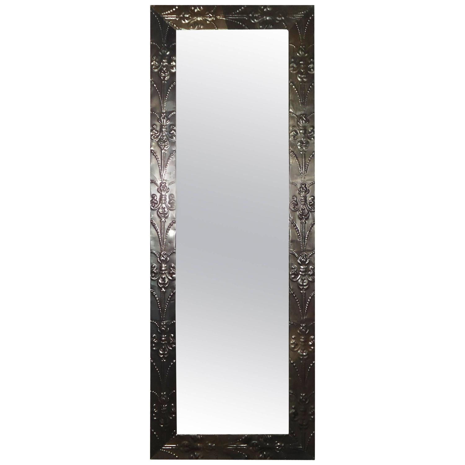 Mid century fluer de lis metal framed mirror at 1stdibs for Metal frame mirror