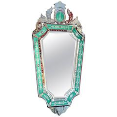Venetian Mirror with Green Glass