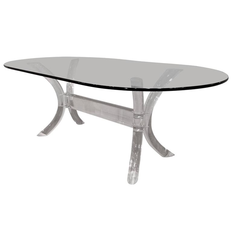 Lucite Dining Room Table: Lucite Dining Table, With Oval Glass Top, By Charles
